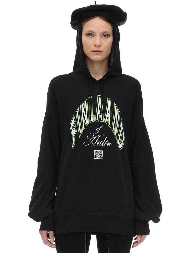 AALTO Printed Cotton Sweatshirt Hoodie in black / green