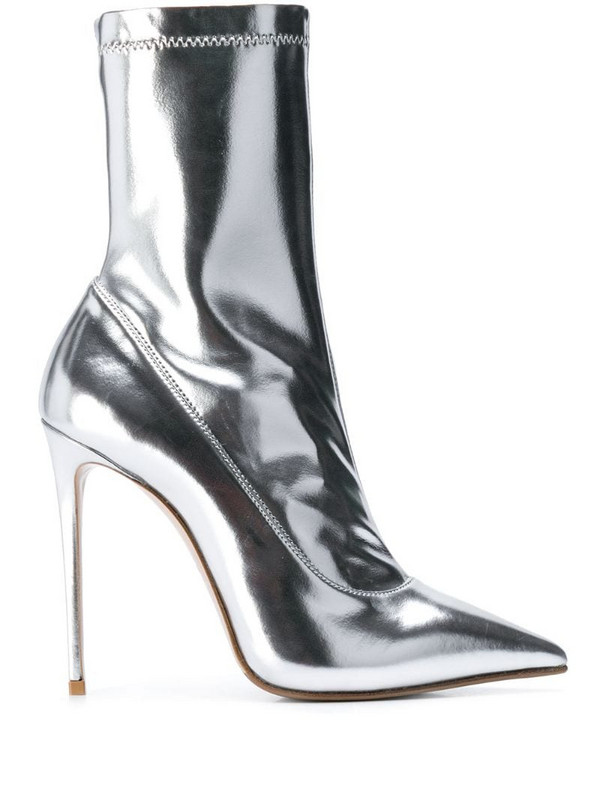 Le Silla Eva mirror effect ankle boot in silver