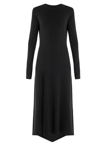Raey - Fishtail Ribbed Cashmere Dress - Womens - Black