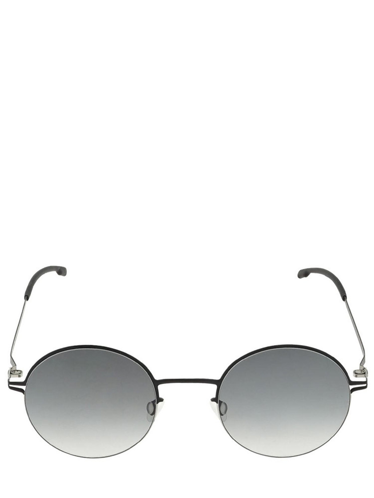 MYKITA Lotta Round Metal Sunglasses in black / grey