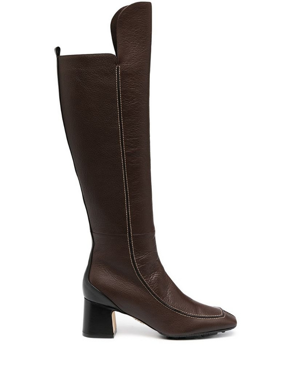 Rodo square-toe knee-length boots in brown