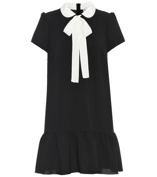 REDValentino Bow-embellished stretch-crêpe dress in black