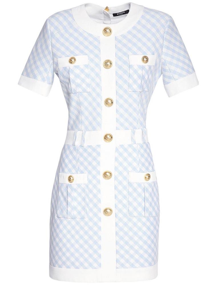 BALMAIN Buttoned Gingham Mini Dress in blue / white