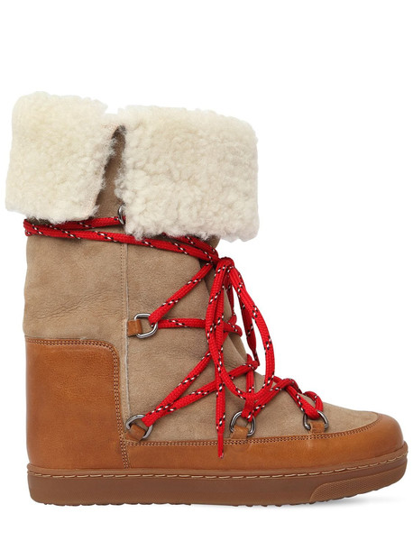 ISABEL MARANT 70mm Nowly Shearling & Suede Boots in beige