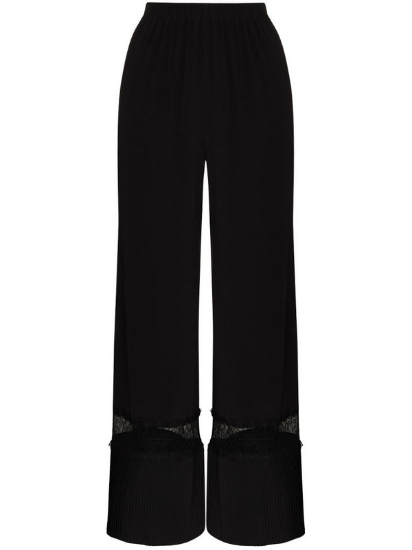 SLEEPING WITH JACQUES lace panel wide-leg trousers in black