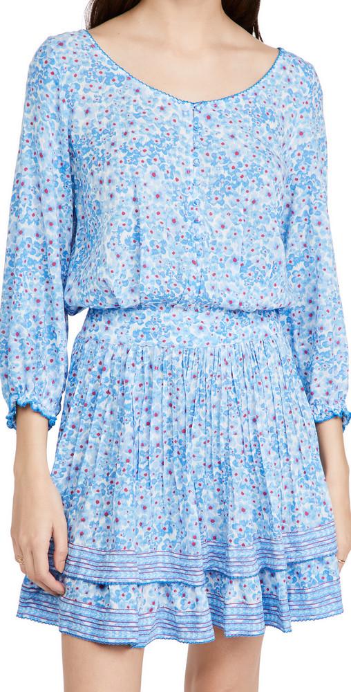 Poupette St Barth Selena Buttoned Mini Dress in blue