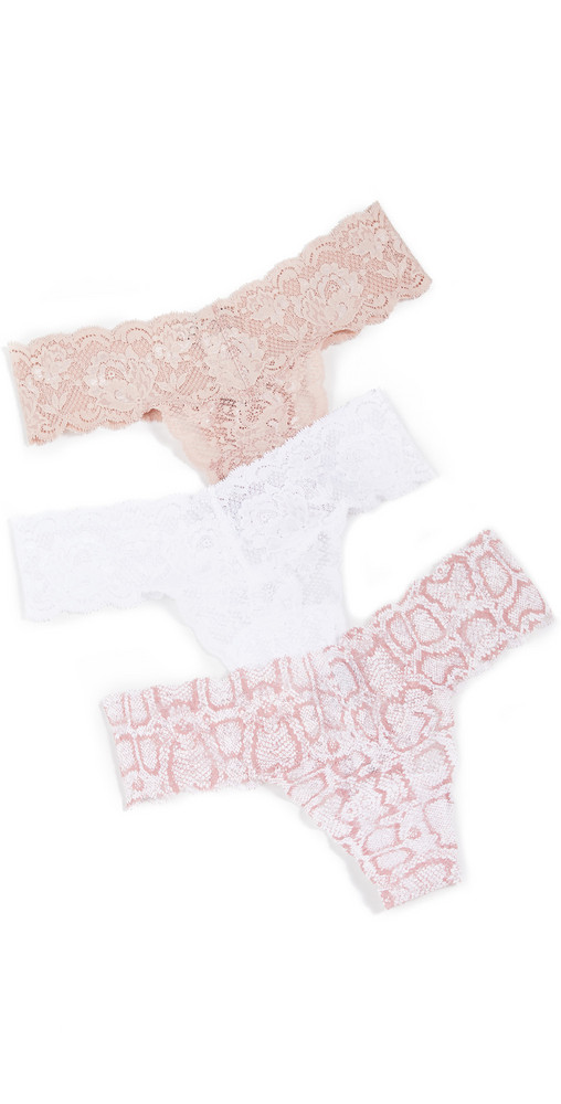 Cosabella Snake Cutie Thong 3 Pack in white