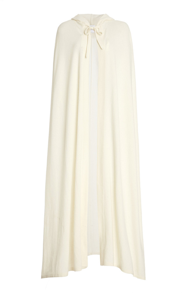 Madeleine Thompson Hooded Cashmere Knit Poncho in white