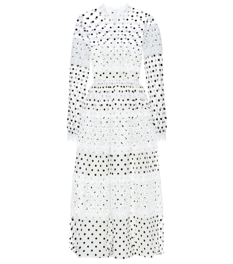 Costarellos Dotted tulle maxi dress in white