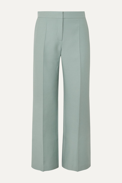 VALENTINO - Wool And Silk-blend Crepe Flared Pants - Green