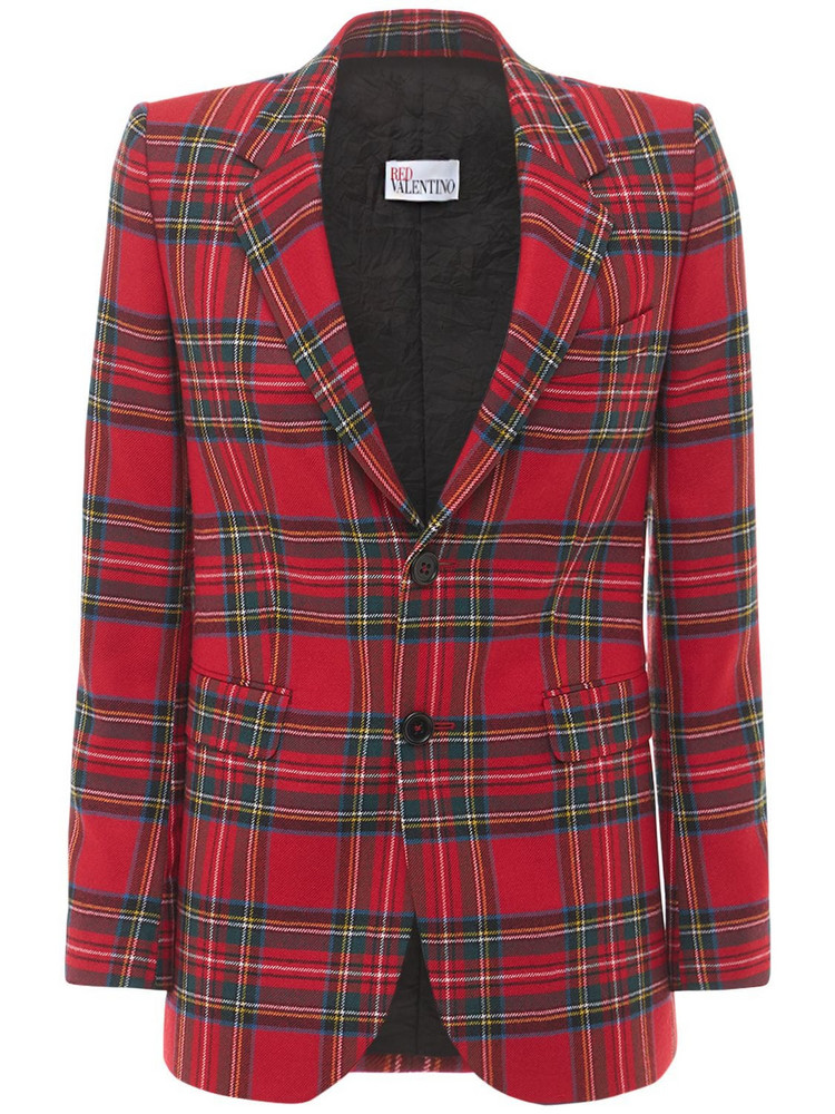 RED VALENTINO May Lily Printed Check Wool Jacket in red