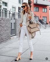 jeans,white jeans,cropped jeans,slingbacks,trench coat,shoulder bag,white sweater