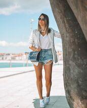 jacket,blazer,white blazer,stripes,h&m,denim shorts,converse,white t-shirt,bag