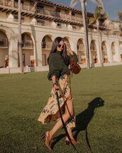 sweater,turtleneck sweater,maxi dress,slit dress,floral dress,slingbacks,brown bag