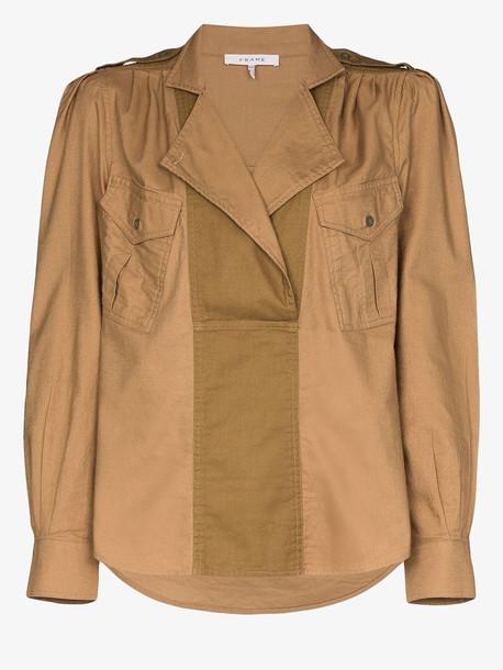 FRAME Safari draped shirt in brown