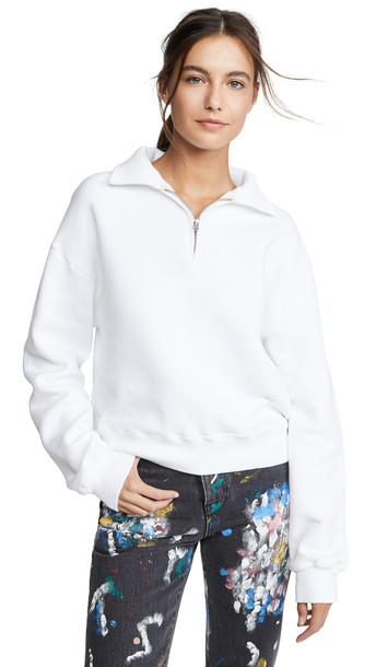 RE/DONE 70s Half Zip Sweatshirt in white