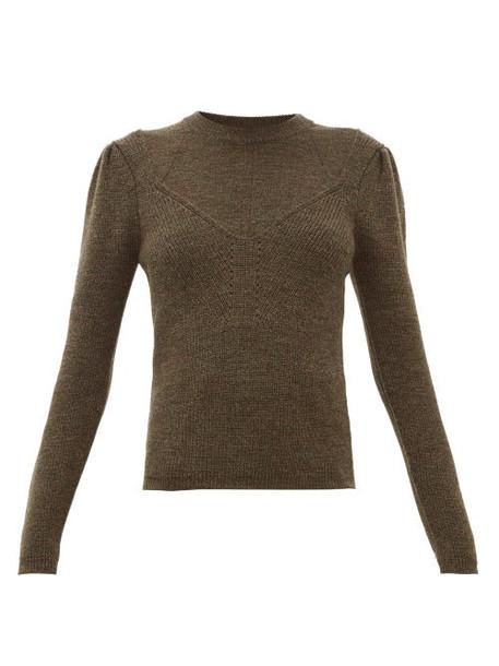 Isabel Marant - Hynn V Insert Boiled Wool Blend Sweater - Womens - Khaki