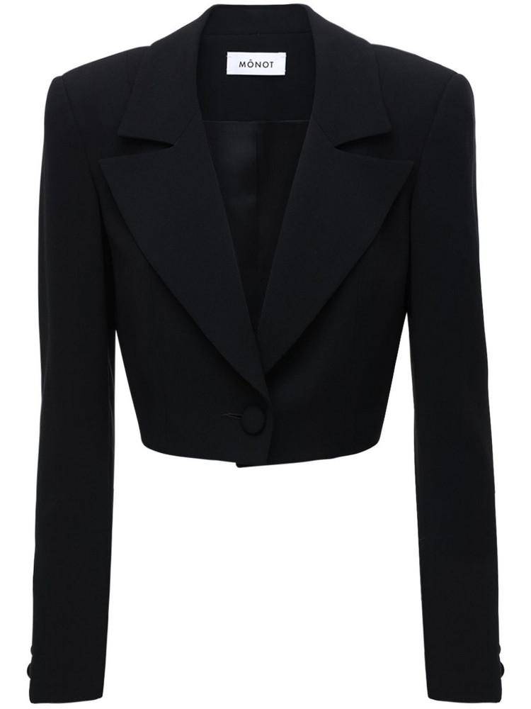 MÔNOT Cropped Crepe Blazer in black
