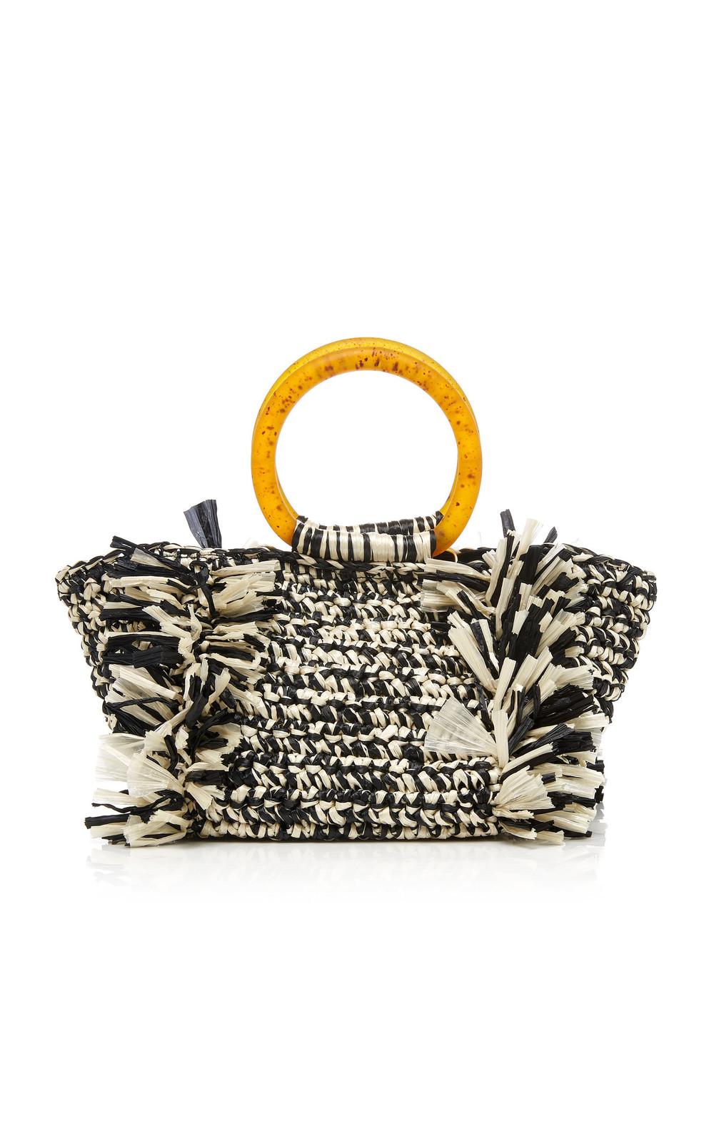 Carolina Santo Domingo Corallina Two-Tone Woven Raffia Bag in black