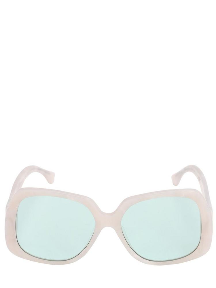 GEORGE KEBURIA Oversize Square Acetate Sunglasses in blue / white