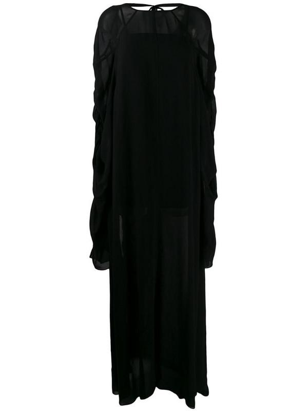 Vera Wang ruched sleeve maxi dress in black