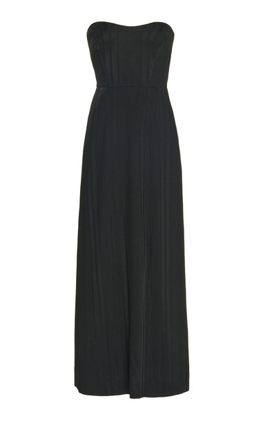Galvan Strapless Bustier Dress in black