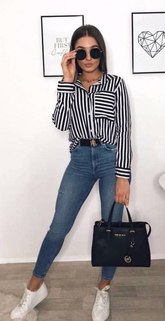 blouse black and white stripes long sleeves button up