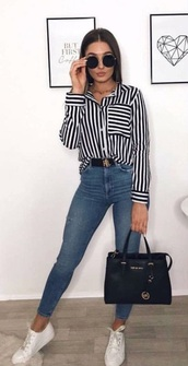 blouse,black and white,stripes,long sleeves,button up