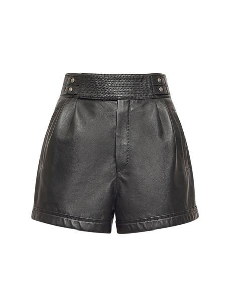 SAINT LAURENT Leather Mini Shorts in noir
