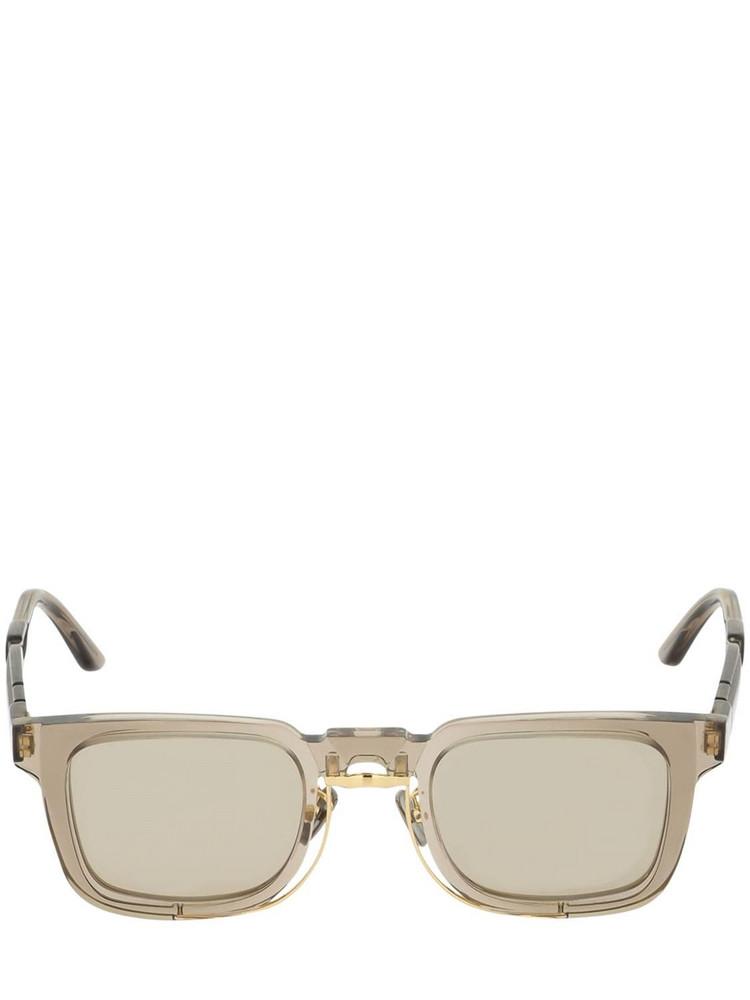 KUBORAUM BERLIN N4 Double Frame Squared Sunglasses in beige / clear