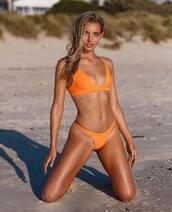 swimwear,orange swimwear