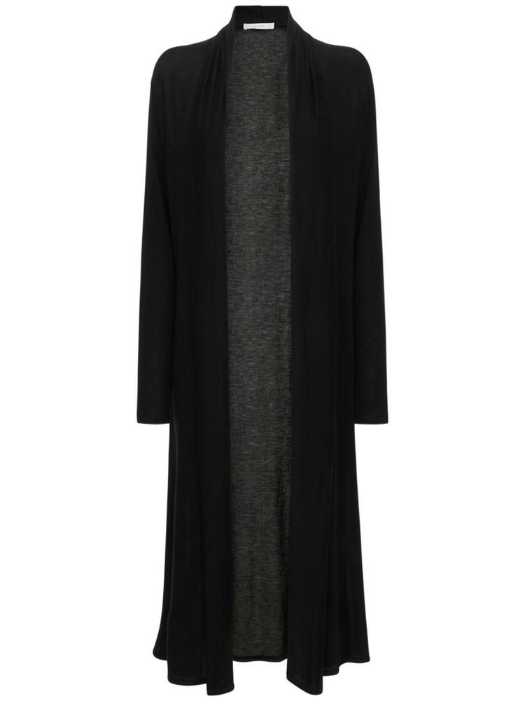 THE ROW Doppo Tencel Blend Knit Long Cardigan in black