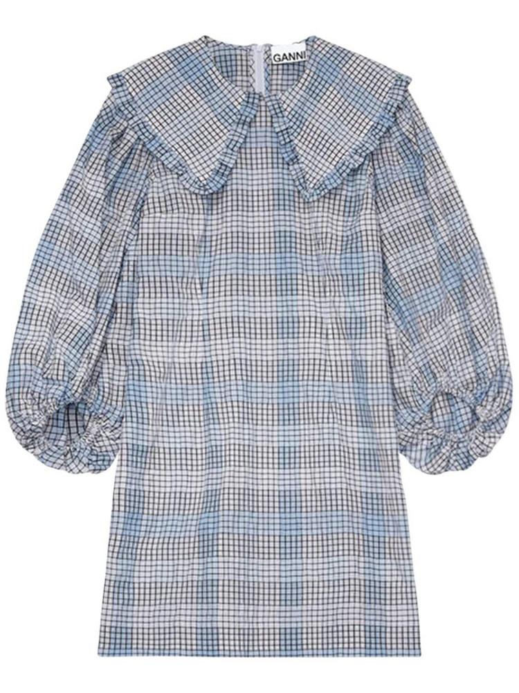 GANNI Seersucker Check Cotton Blend Mini Dress in grey