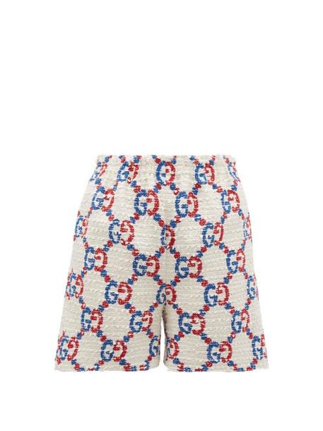 Gucci - Gg Logo Jacquard Bouclé Tweed Shorts - Womens - White Multi