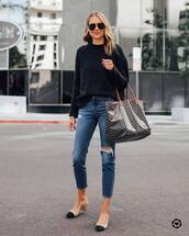 sweater,black sweater,ripped jeans,slingbacks,shoulder bag