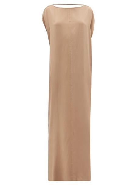 Thea - The Gaia Draped-back Silk-satin Maxi Dress - Womens - Dark Beige