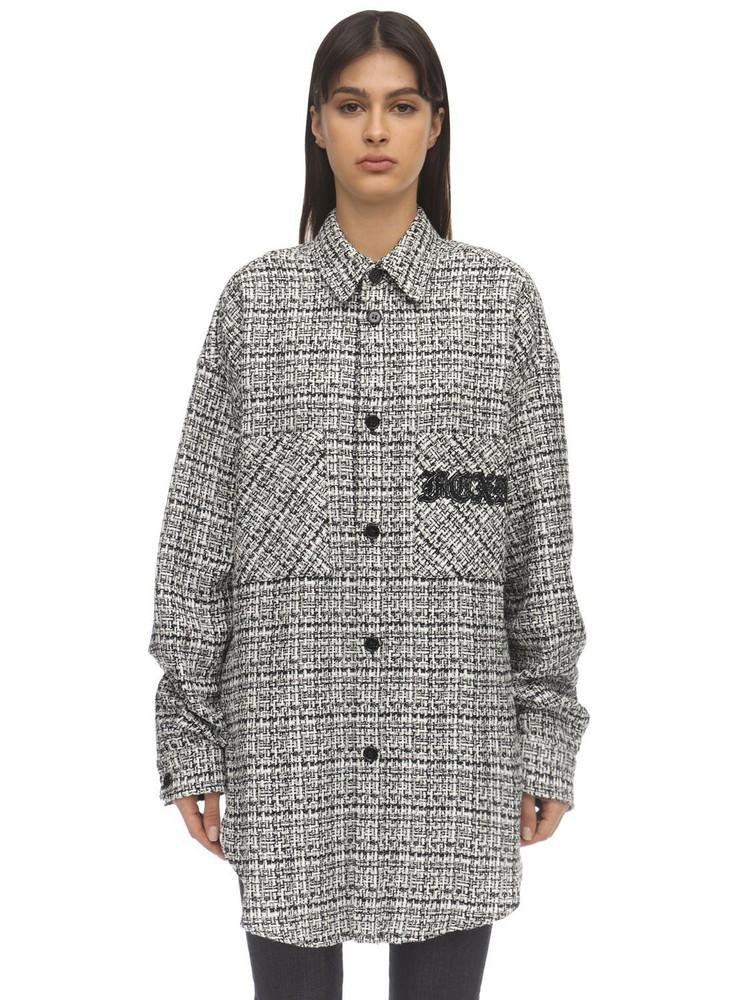 FAITH CONNEXION Oversize Tweed Jacket in black / white