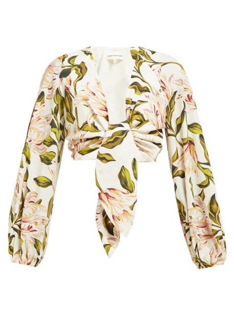 Mara Hoffman - Gianna Floral Print Cropped Poplin Top - Womens - Cream