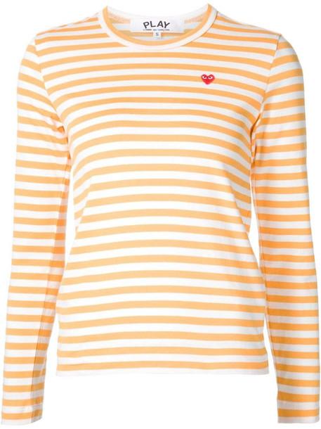 Comme Des Garçons Play mini-heart striped T-shirt in yellow