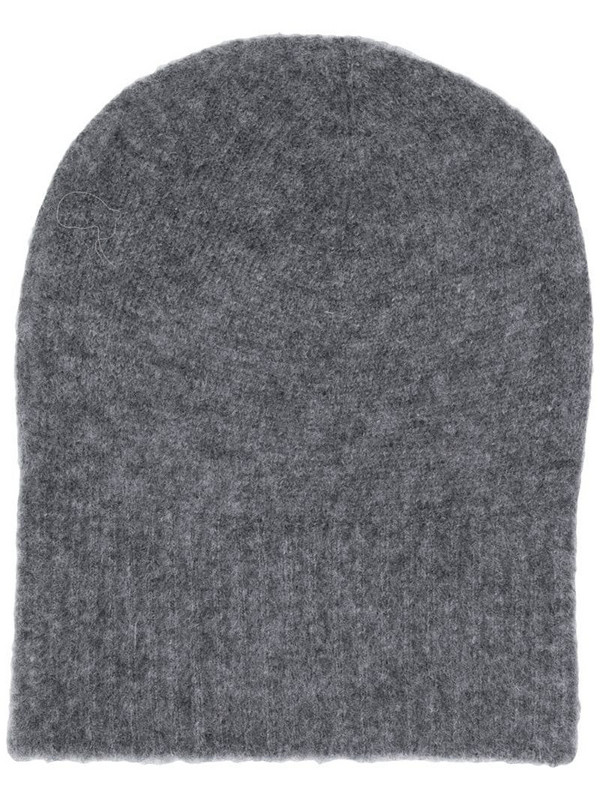 Agnona knitted beanie hat in grey