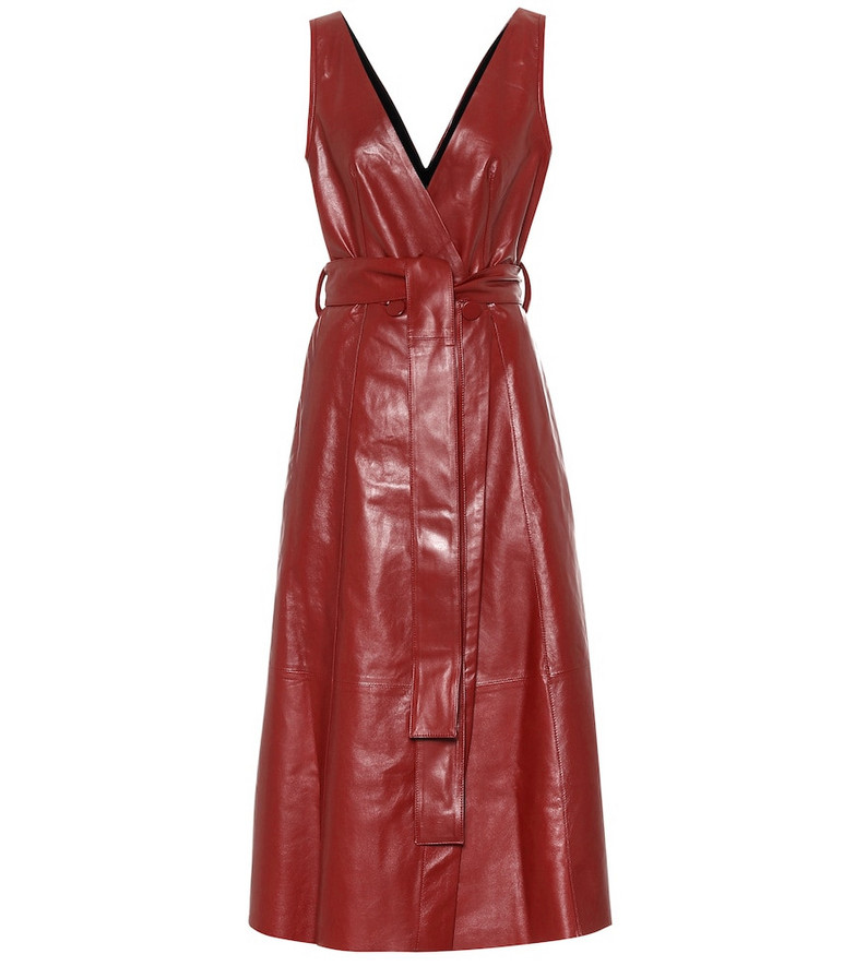 Petar Petrov Awel leather midi dress in red