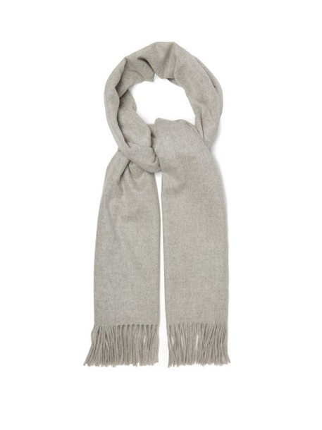 Johnston's Of Elgin - Fringed Cashmere Scarf - Womens - Silver