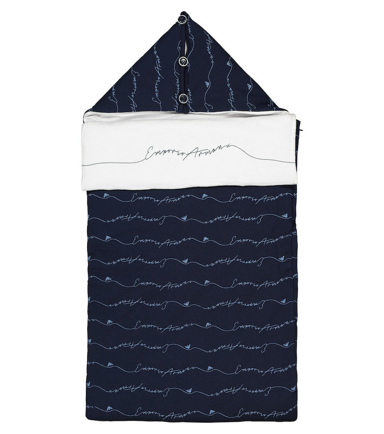 Emporio Armani Kids Baby printed cotton bunting bag in blue