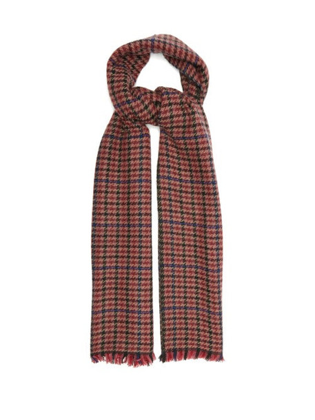Isabel Marant - Dash Shepherd-check Wool-blend Twill Scarf - Womens - Red
