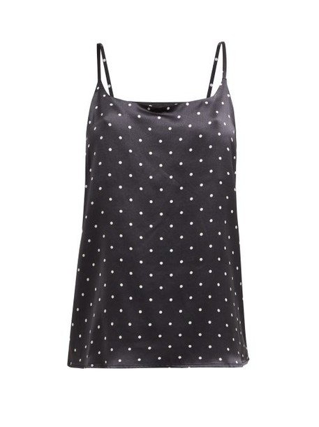 Asceno - Polka Dot Sandwashed Silk Cami Top - Womens - Black White