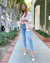 jeans,ripped jeans,sneakers,white blazer,white t-shirt,chanel bag