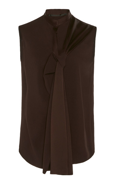 Haider Ackermann Sleeveless Draped Jersey Top Size: 34 in brown