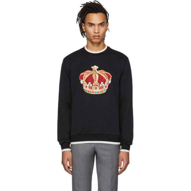 Dolce and Gabbana Dolce & Gabbana Black Big Crown Sweatshirt