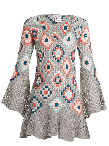 My Beachy Side - Bisou V Neck Crochet Knit Cotton Mini Dress - Womens - Grey Multi