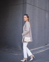 jeans,white jeans,ripped jeans,mules,crossbody bag,blazer